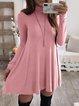 Turtleneck Long Sleeve Plain Dress