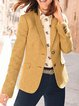 Yellow Casual Pockets Lapel Cotton-Blend Outerwear