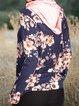 Floral Printed Vintage Long Sleeve Navy Blue Hoodies