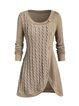 Elegant Large size women's round neck long sleeve button decoration irregular stitching knitted sweater