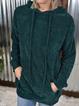 Green Plain Casual Hoodie Sweater