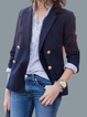 Navy Blue Solid Lapel Cotton-Blend Long Sleeve Outerwear