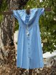 Women Half Sleeve V-neck Solid  Elegant Casual Plus Size  Dress