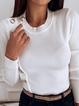 Long Sleeve Plain Paneled Crew Neck Sweater