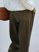 Green Plain Casual Pants