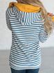 Stripes Cotton-Blend Hoodie Casual Printed Sweatshirt