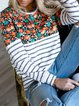 Stripes Floral Casual Paneled Shift Shirts & Tops