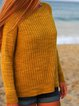 Round Neck Plain Knitted Casual Sweater