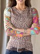 Brown Long Sleeve Round Neck Shirts & Tops