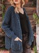 Women Solid Shift Casual Pockets Cardigans