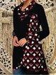 Shawl Collar Women Dresses Daily Cotton-Blend Plain Dresses