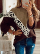 Color-Block Leopard Print Casual Long Sleeve Sweater