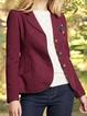 Burgundy Plain Shawl Collar Long Sleeve Paneled Outerwear
