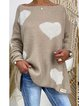 Deep Apricot Cotton-Blend Casual Long Sleeve Sweater