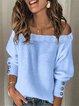 Blue Off Shoulder Long Sleeve Paneled Sweater