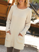 Crew Neck  Shift Daily Work Knitted Dresses