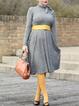 Stand Collar Gray Women Dresses Cotton-Blend Plain Dresses