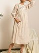 Floral 3/4 Sleeve Embroidered Dresses