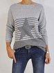 Light Gray Cotton-Blend Round Neck Long Sleeve Sweater