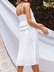 White Casual Plain V Neck Dresses