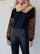 Black Casual Leopard Print Crew Neck Shirts & Tops