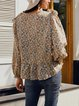 White Floral Frill Sleeve Crew Neck A-Line Shirts & Tops