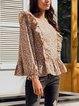 Yellow Frill Sleeve Sweet Floral Shirts & Tops