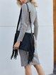 Gray Knitted Turtleneck Long Sleeve Dresses
