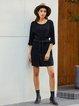 Black Solid Shift Cotton 3/4 Sleeve Dresses