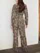 Leopard Long Sleeve Shift Casual One-Pieces
