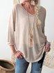 Light Gray Long Sleeve Cotton-Blend Casual Plain Shirts & Tops