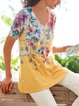 Floral Printed Crew Neck Short Sleeve Casual Shirt