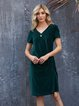 Green Short Sleeve Plain V Neck Dresses