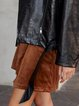 Brown Solid Casual Corduroy Skirts