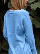 Blue Long Sleeve Paneled Cotton-Blend Sweater