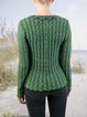 Cotton-Blend Knitted Casual Shift Sweater