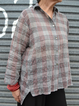 Casual Shirt Collar Checkered/plaid Linen Shirts