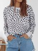 Crew Neck Casual Cotton-Blend Long Sleeve Sweater