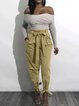 Pockets Solid Casual Bow High-rise Pants