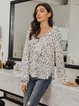 White V Neck Long Sleeve Leopard Print Shift Shirts & Tops