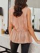 Meat Powder Solid Silk-Chiffon Casual Dresses
