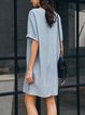 Lightblue Solid Half Sleeve Shift Dresses