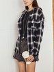 White-Black Checkered/plaid Long Sleeve Shirts & Tops
