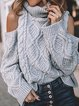 Gray Turtleneck Casual Plain Knitted Sweater