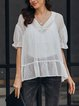 White V Neck Short Sleeve Shift Chiffon Shirts & Tops