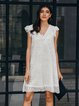 White Sleeveless Striped Lace V Neck Dresses