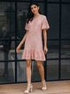 Pink Solid Short Sleeve A-Line Dresses
