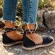 Women Plus Size Comfortable Rivet Adjustable Buckle Sandals