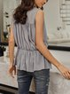 Blue V Neck Solid Sexy Chiffon Shirts & Tops