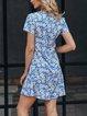 Blue V Neck Floral Holiday A-Line Dresses